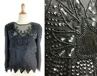 SMALL Vintage 1980s black Sequin top Laurence Kazar 80s beaded sequined