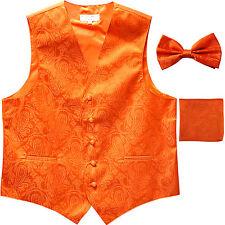 Men's paisley Tuxedo VEST Waistcoat & BOWTIE and HANKIE set Hot Orange