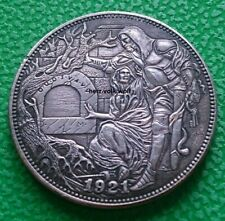 1921 US argent 1 dollars Morgan Dollar Hobo Chevalier avec épée sculpté Fantasy coin