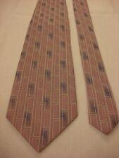 PIERRE CARDIN Men's Silk Neck Tie - Purple geometric rectangles w/Silver & Blue