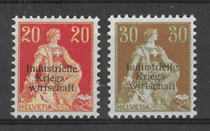 SWITZERLAND 1918 Mint VLH Kriegswirtschaft Set of 2 Michel #6I & 8I CV €280 VF