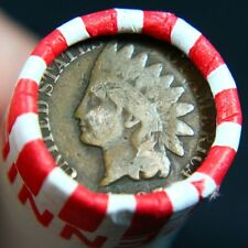 Indian Head Penny Showing On End Of 50 Coin Wheat Cent Shotgun Roll #B6