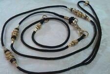 Beaded Dog Show lead & slip collar set,black,gold bling beads,advise dogs neck