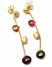 Authentic! Marco Bicego 18k Yellow Gold Multicolor Gemstone Drop Earrings