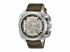 BRAND NEW DIESEL DZ7367 BAMF CHAMPAGNE CHRONO DIAL OLIVE FABRIC/LEATHER WATCH