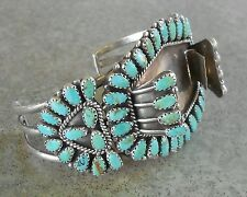 Navajo Cluster Turquoise Sterling Silver Watch Band Cuff ~ Larry Moses Begay