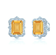 14k Oro Blanco Antiguo Diseño Esmeralda Citrino Diamante Tuerca Pendientes 3.20