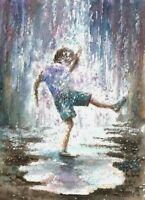 ACEO rain puddle boy kid painting original watercolor art card