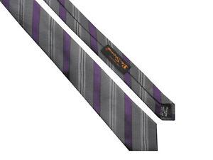 BEN SHERMAN Skinny Retro Mens Dark Grey Purple Striped Silk Tie > RRP £35