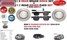 FOR BMW 5 E61 TOURING ESTATE REAR BRAKE DISCS SET + DISC PADS KIT + WIRE SENSOR
