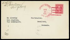 "1925 (Apr. 15) New York to Bermuda airmail cover via ""Los Angeles"" Zeppelin"