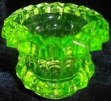 Green Vaseline glass salt dip cellar / celt candle pattern master uranium yellow
