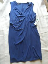 NEW WOMENS JONES NEW YORK SLEEVELESS DRESS BLUE BELL SIZE 16 LINED