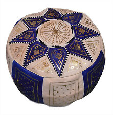 Pouf Moroccan Hassock Pooff Leather Genuine Pouff Ottoman Footstool MED Blue