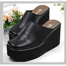 Black 10cm Wedge Platforms Clogs Mules High Heels Women Shoes US 6 / UK 3.5