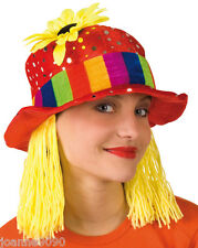 Ladies Red Rainbow Pride Sunflower Clown Hat with Yellow Wig Fancy Dress Costume