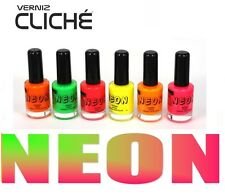LOT OF 6 COLORS new Fluorescent Neon colors Nail Art Polish Cliché, Nail Polish