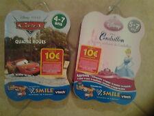 21961 // LOT 2 JEUX V.SMILE VTECH 4/7 ANS CENDRILLON + CARS  NEUF