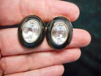 Vintage 1980's MONET Gold Tone Black Enamel & Rhinestone Pierced Earrings