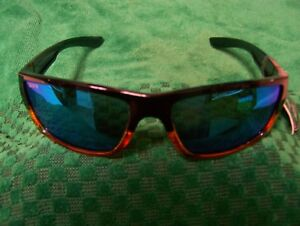 CALCUTTA SHOCK WAVE WOODGRAIN FRAME BLUE MIRROR  POLARIZED LENS SUNGLASSES