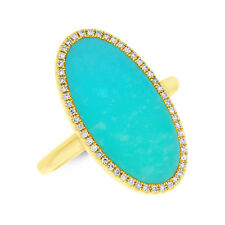 Turquoise Diamond Cocktail Right Hand Ring 2.52 tcw 14K Yellow Gold Oval Shape