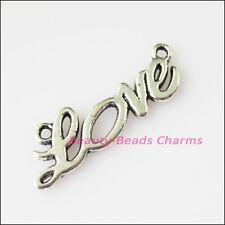 10Pcs Antiqued Silver Tone Love Words Charms Pendants Connectors 8x23.5mm