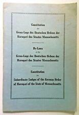 German Secret Society in US Fraternal Organization 1948 GERMAN ORDER OF HARUGARI