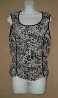 Nine West Womens Size Medium Sleeveless Black White Floral Blouse Tank Top Shirt