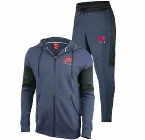 Nike Air Mens Tracksuit Fleece Hoodie Joggers Sweatpants Hoody Bottoms New Navy