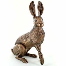 More details for large bronze effect hare ornament sculpture home decoration statue or gift