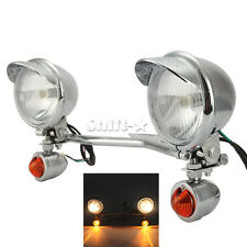Chrome Passing Driving Fog Turn Signal Light  Bar for Harley Davidson Softail