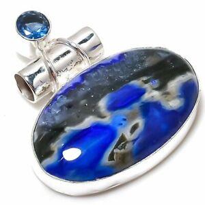 "Rare Ocean Jasper,Tanzanite Gemstone Handmade 925 Silver Jewelry Pendant 1.46"""