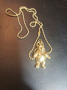 Articulated Winnie the Pooh Gold Tone Ball Chain Necklace Pendant Dangle Disney