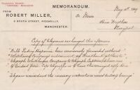 Robert Miller Memo. Manchester 1889 to Hine Bros Shipping Telegrams Exch.  35912