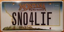 Vanity SNOW 4 LIFE license plate Ski Skiing Mountain Snowboarding Surfboard Pole