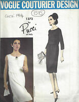 "1964 Vintage VOGUE Sewing Pattern B36"" DRESS (1575) By PUCCI of ITALY"
