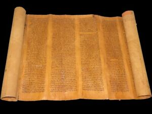 TORAH BIBLE SCROLL VELLUM JEWISH MANUSCRIPT 300 YRS OLD MOROCCO Book of Genesis