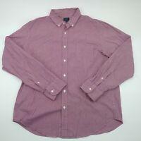 J Crew Mens Red Button Up Long Sleeve Cotton Plaid Shirt Size XL