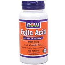 Folic Acid+ B-12 250 V Tabs 800mcg by Now Foods