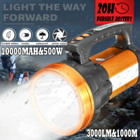10000MAh Camping LED Searchlight Rechargeable Flashlight Spotlight USB Torch