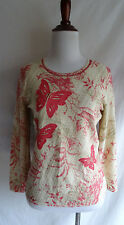 Sigrid Olsen S Open Knit Ivory Pink Butterfly Embroidered Artsy Flower Sweater
