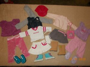 "American Girl Doll Lot 16 pcs 4 ""sets"" sneakers shoes Boots shirts skirt pants"