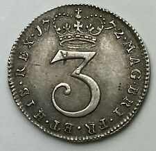 Dated : 1772 - Silver Coin - Maundy Threepence - 3d Coin - King George III