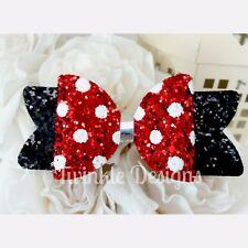 "Red Polkadot Glitter Disney Minnie inspired Hair Bow Clip 3.5"""