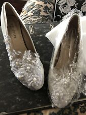 Ivory & Grey Occasion/ Wedding Shoes, Embroidered floral W/ Pearls