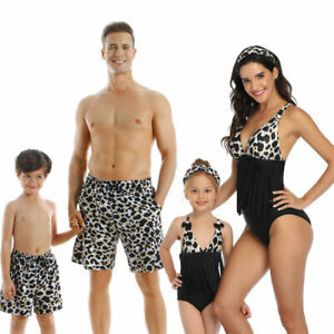 Leopard Printing Matching Family Outfits Women Men Father Swimwear Kids Swimsuit