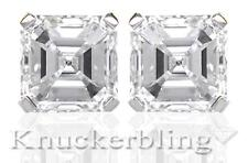 0.50ct Asscher Certified F SI Diamond Solitaire Stud Earrings 18ct White Gold
