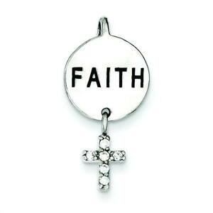 """Sterling Silver Faith CZ Cross Charm & 18"""" Chain Jewerly 26mm x 13mm"""