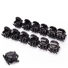 Mujer niñas 12pcs negro plástico mini horquilla 6garras pinza de pelo abrazadera