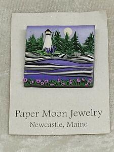 Artisan Jayne Dwyer PAPER MOON JEWELRY Newcastle, Maine LIGHTHOUSE Brooch